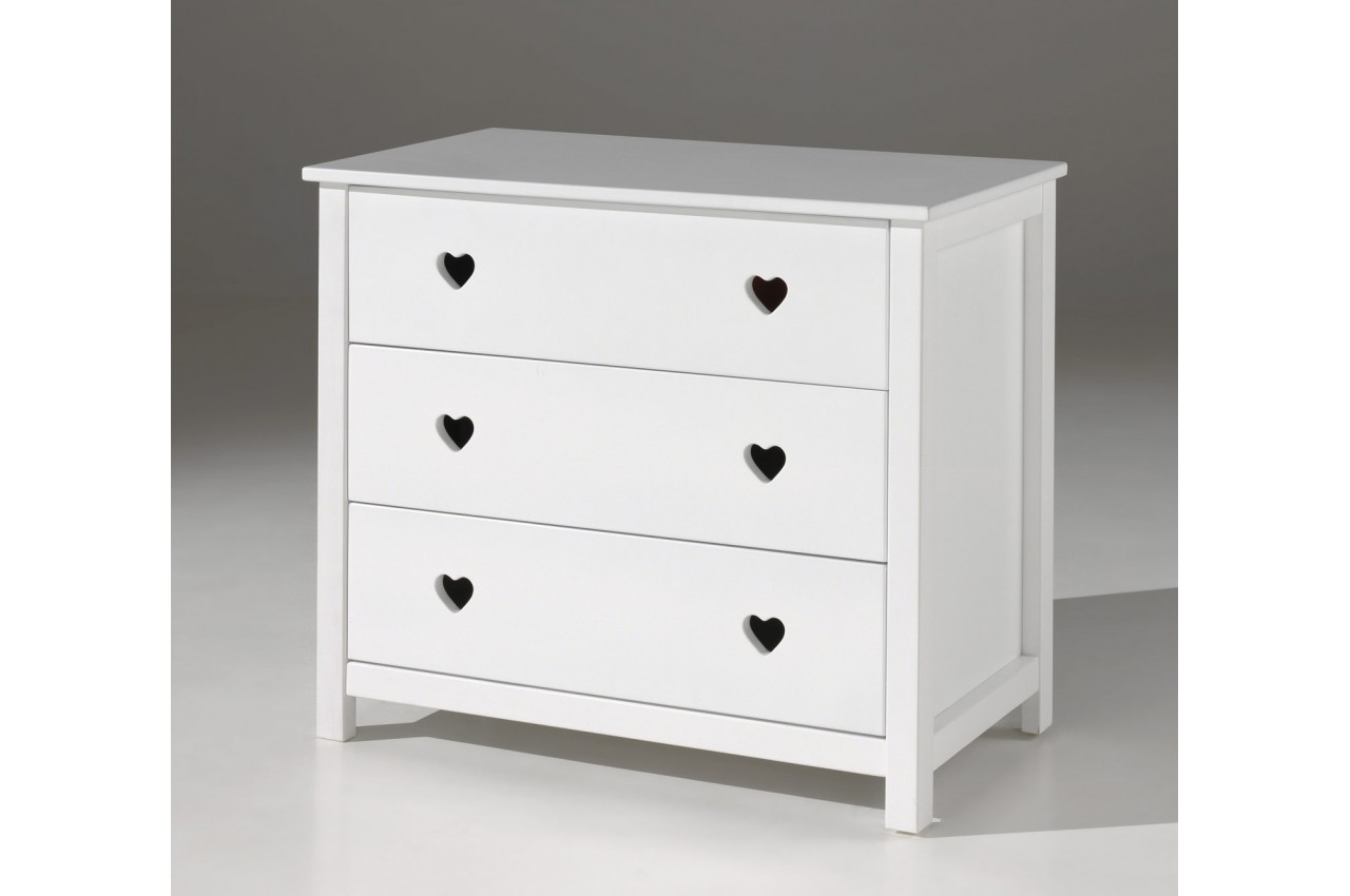 Commode 3 tiroirs blanc laqu sarah cbc meubles - Commode 3 tiroirs blanc ...