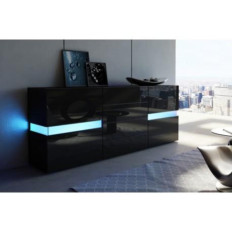 Buffet moderne laqu noir funky cbc meubles for Meuble 4 portes noir laque