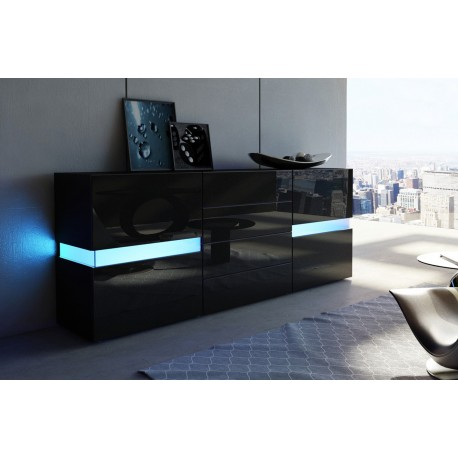 buffet moderne laqu noir 2 portes 4 tiroirs funky cbc meubles. Black Bedroom Furniture Sets. Home Design Ideas