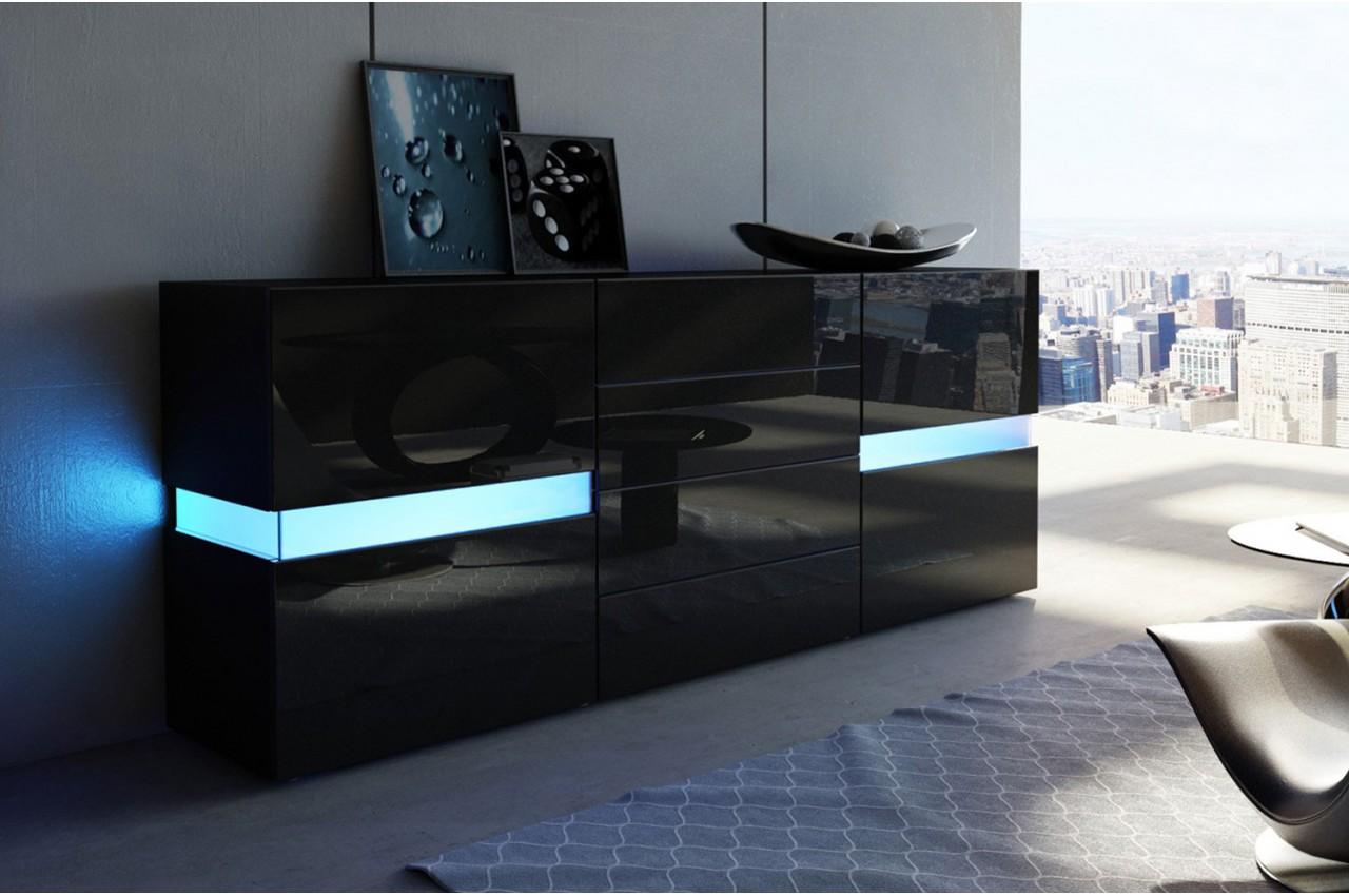 Buffet moderne laqu noir 2 portes 4 tiroirs funky cbc for Meuble 4 portes noir laque