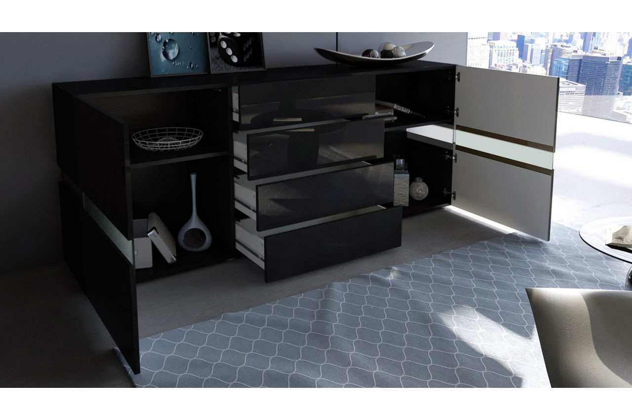 buffet moderne laqu noir funky cbc meubles. Black Bedroom Furniture Sets. Home Design Ideas