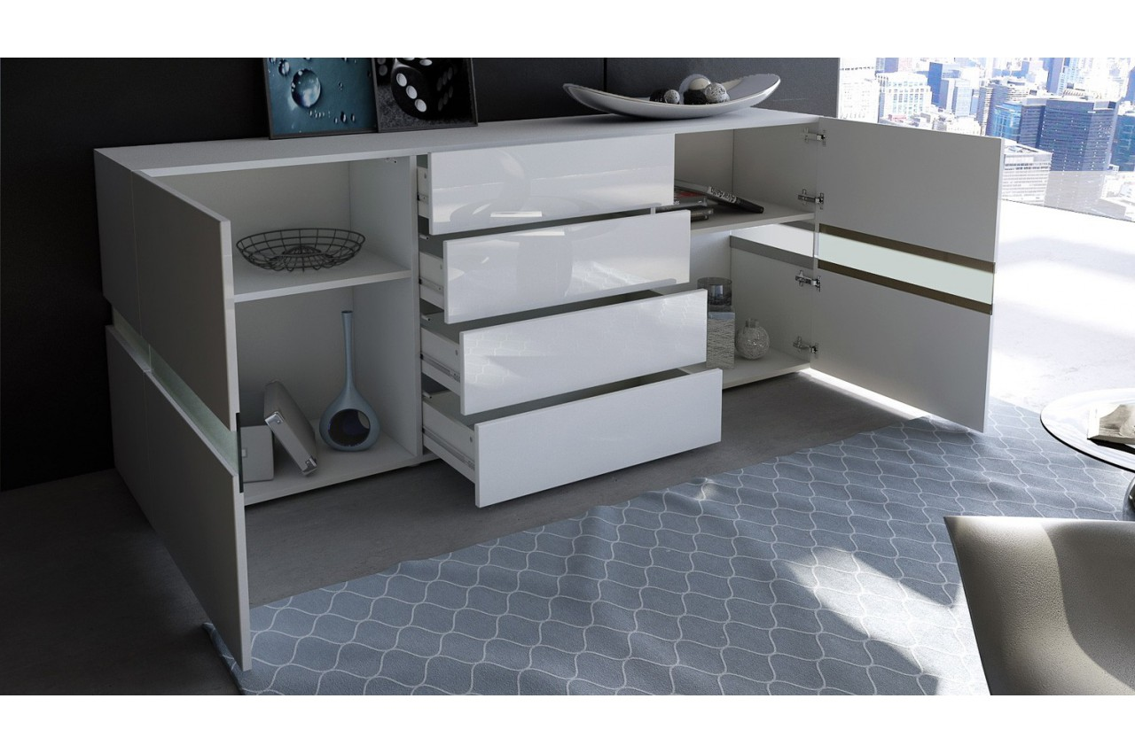 buffet moderne laqu blanc funky cbc meubles. Black Bedroom Furniture Sets. Home Design Ideas