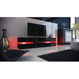 Meuble télé hifi lumineux laqué noir 3 portes 1 tiroir FUNKY