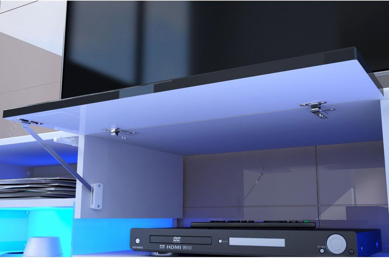 Meuble tv hifi lumineux laqu blanc 3 portes 1 tiroir for Meuble hifi blanc laque