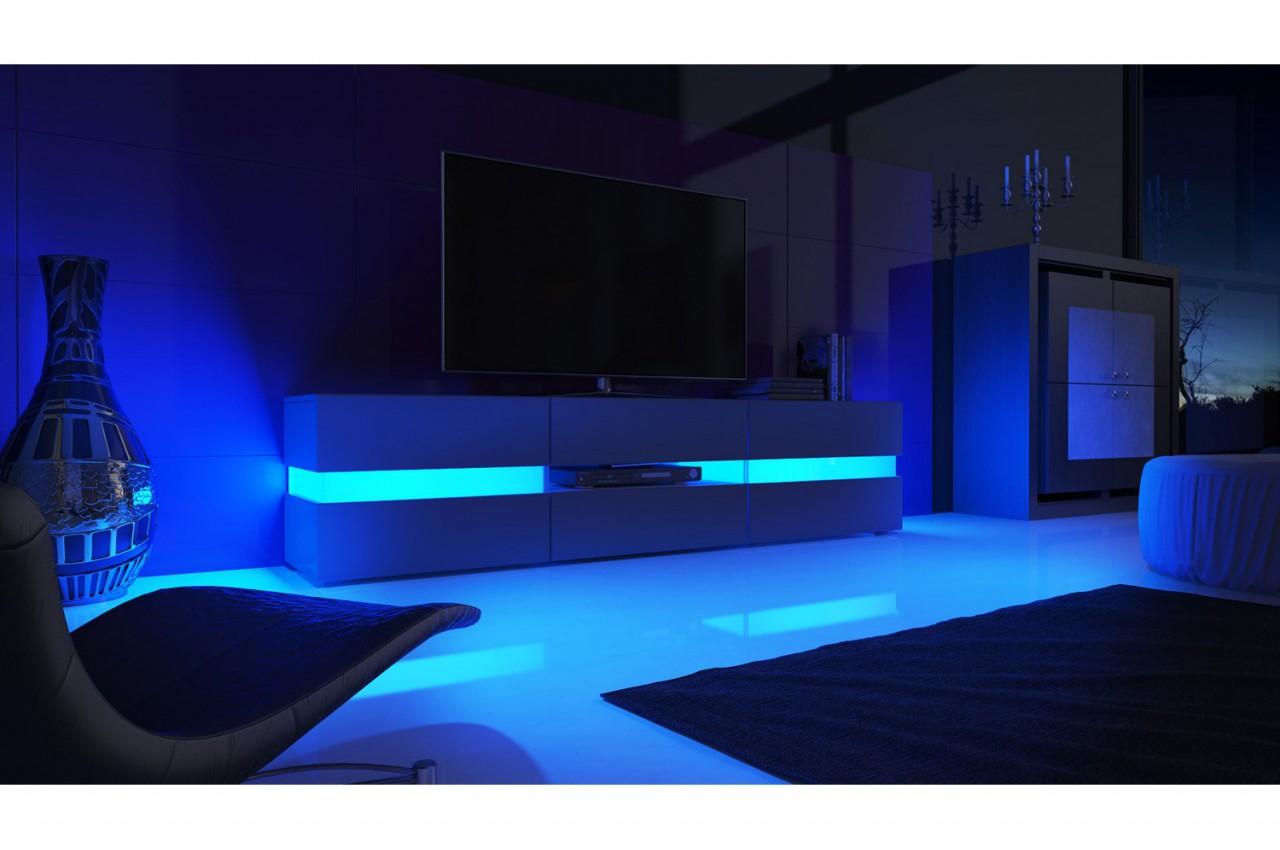 Meuble tv hifi lumineux laqu blanc 3 portes 1 tiroir funky cbc meubles - Laque meuble ...