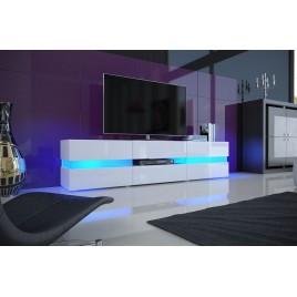 Meuble TV hifi lumineux laqué blanc 3 portes 1 tiroir FUNKY