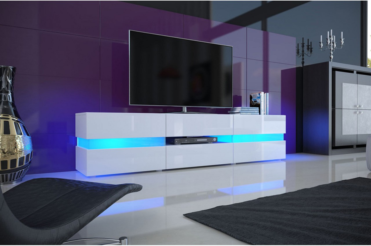 meuble tv hifi lumineux laqu blanc 3 portes 1 tiroir. Black Bedroom Furniture Sets. Home Design Ideas