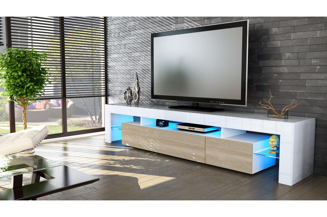 Meuble Tv Hi Fi Design Blanc 189 Cm Irio Cbc Meubles