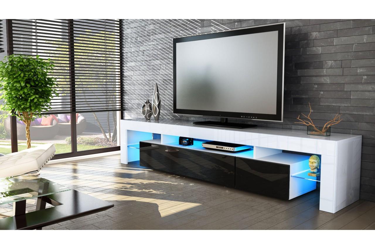 Meuble tv hi fi design blanc 189 cm irio cbc meubles for Meuble tv hifi design