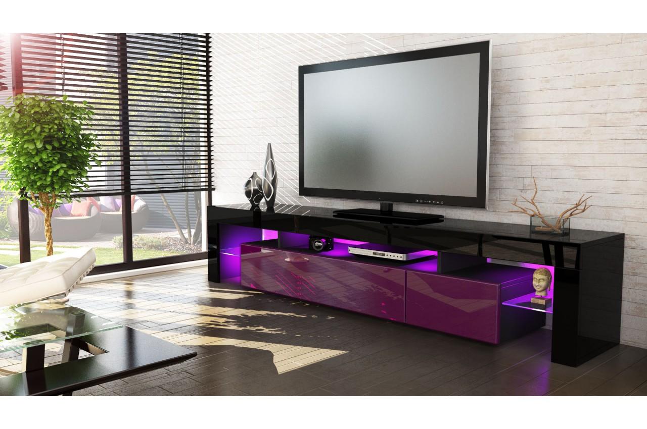 Meuble t l hi fi design noir 189 cm irio cbc meubles for Meuble tele hifi