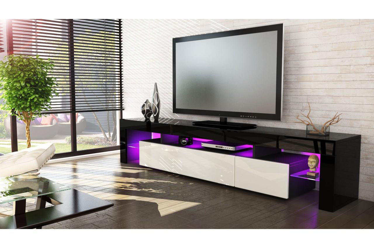 Meuble t l hi fi design noir 189 cm irio cbc meubles for Mobili hi fi design