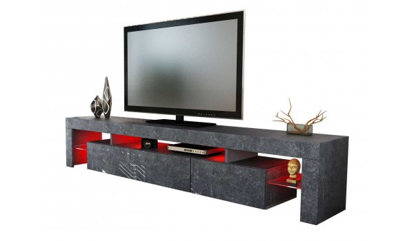 meuble tv design gris marbr 151 ou 199 cm irio cbc meubles. Black Bedroom Furniture Sets. Home Design Ideas