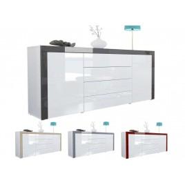 Buffet design blanc laqué 167 cm - 2 portes - 4 tiroirs TOPAZE