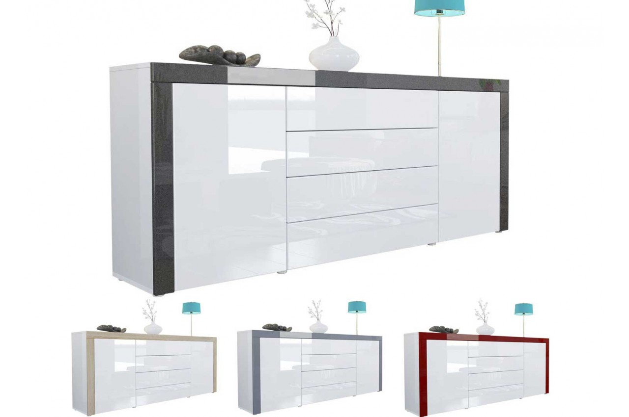buffet design blanc laqu 167 cm 2 portes 4 tiroirs topaze cbc meubles. Black Bedroom Furniture Sets. Home Design Ideas
