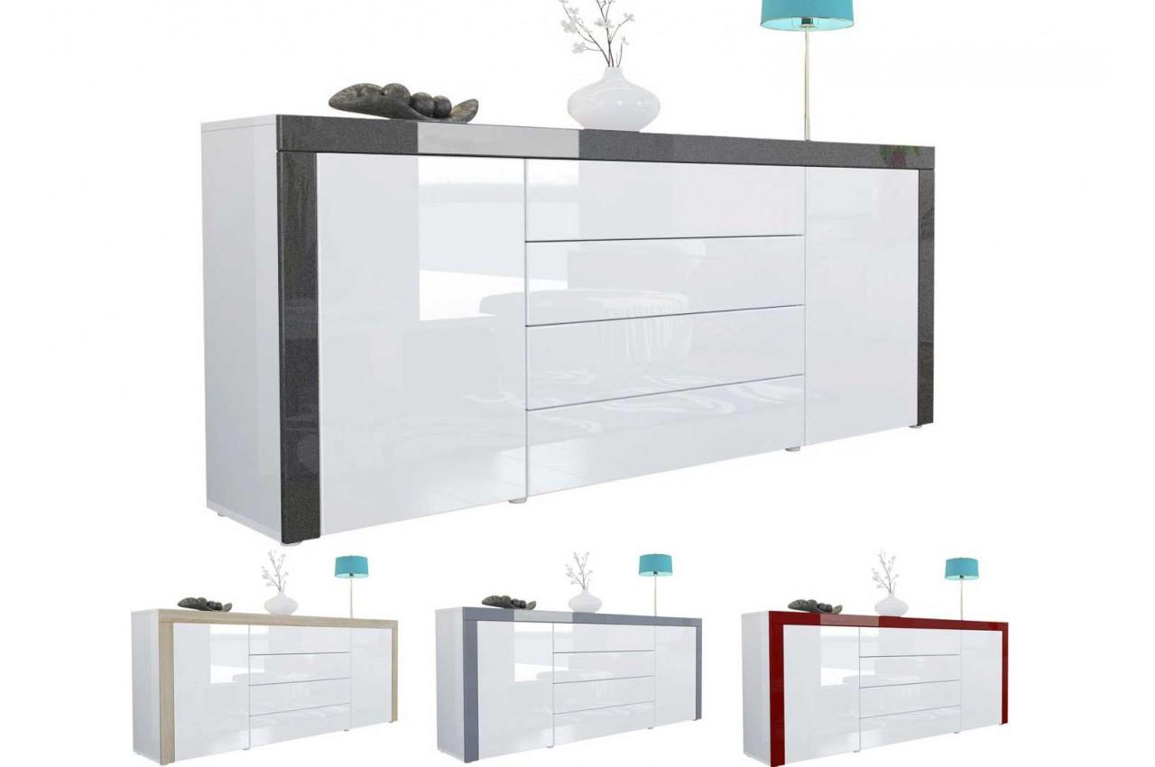 Buffet Design Blanc Laqu 167 Cm 2 Portes 4 Tiroirs Topaze Cbc Meubles