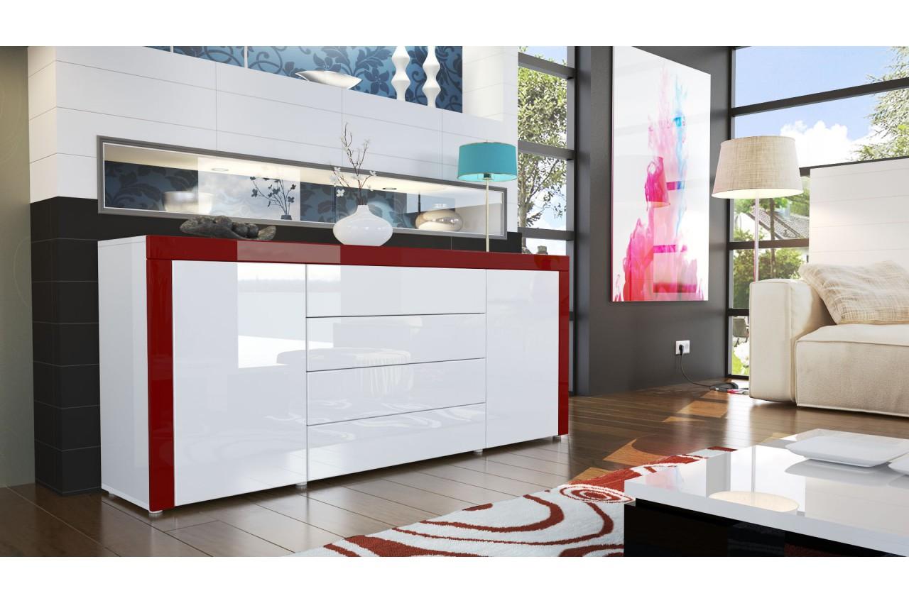 buffet design blanc laqu 167 cm 2 portes 4 tiroirs topaze cbc meubles. Black Bedroom Furniture Sets. Home Design Ideas