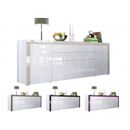 Buffet design blanc laqué 200 cm - 4 portes - 2 tiroirs TOPAZE