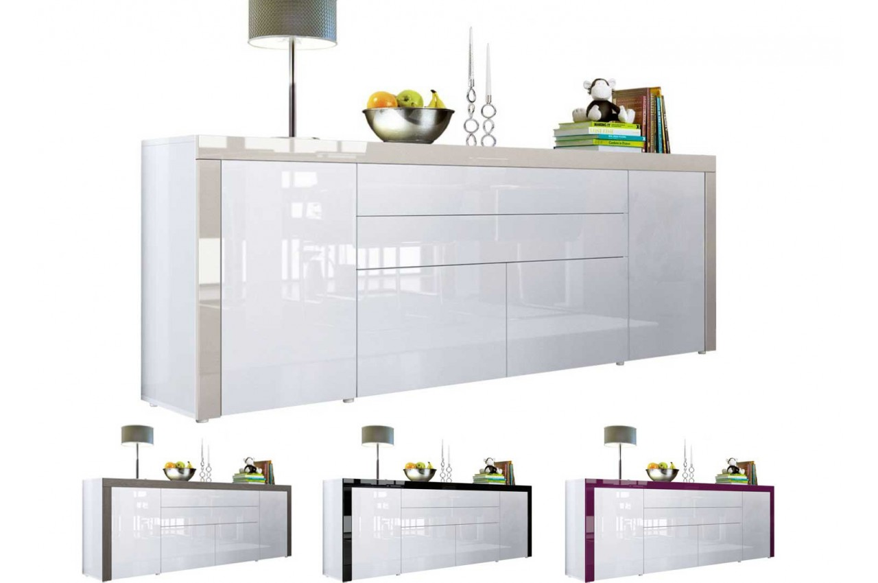Buffet design blanc laqu 200 cm 4 portes 2 tiroirs for Meuble 4 portes laque blanc