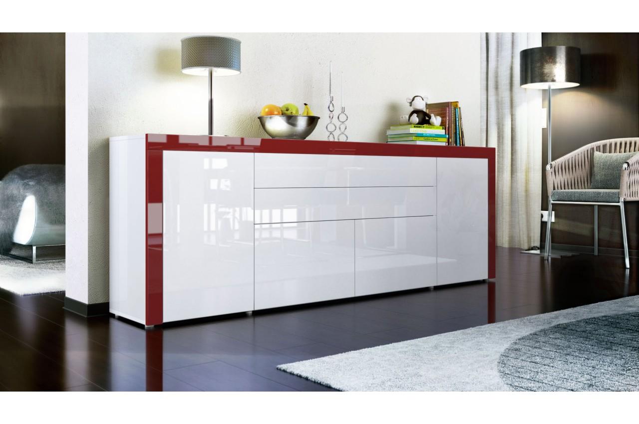 buffet design blanc laqu 200 cm 4 portes 2 tiroirs topaze cbc meubles. Black Bedroom Furniture Sets. Home Design Ideas