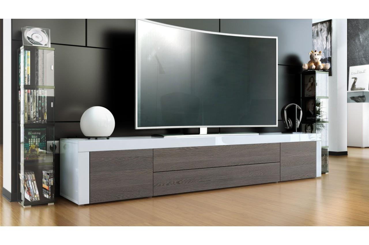 Meuble tv design laqu blanc 200 cm topaze cbc meubles - Meuble bas design laque ...