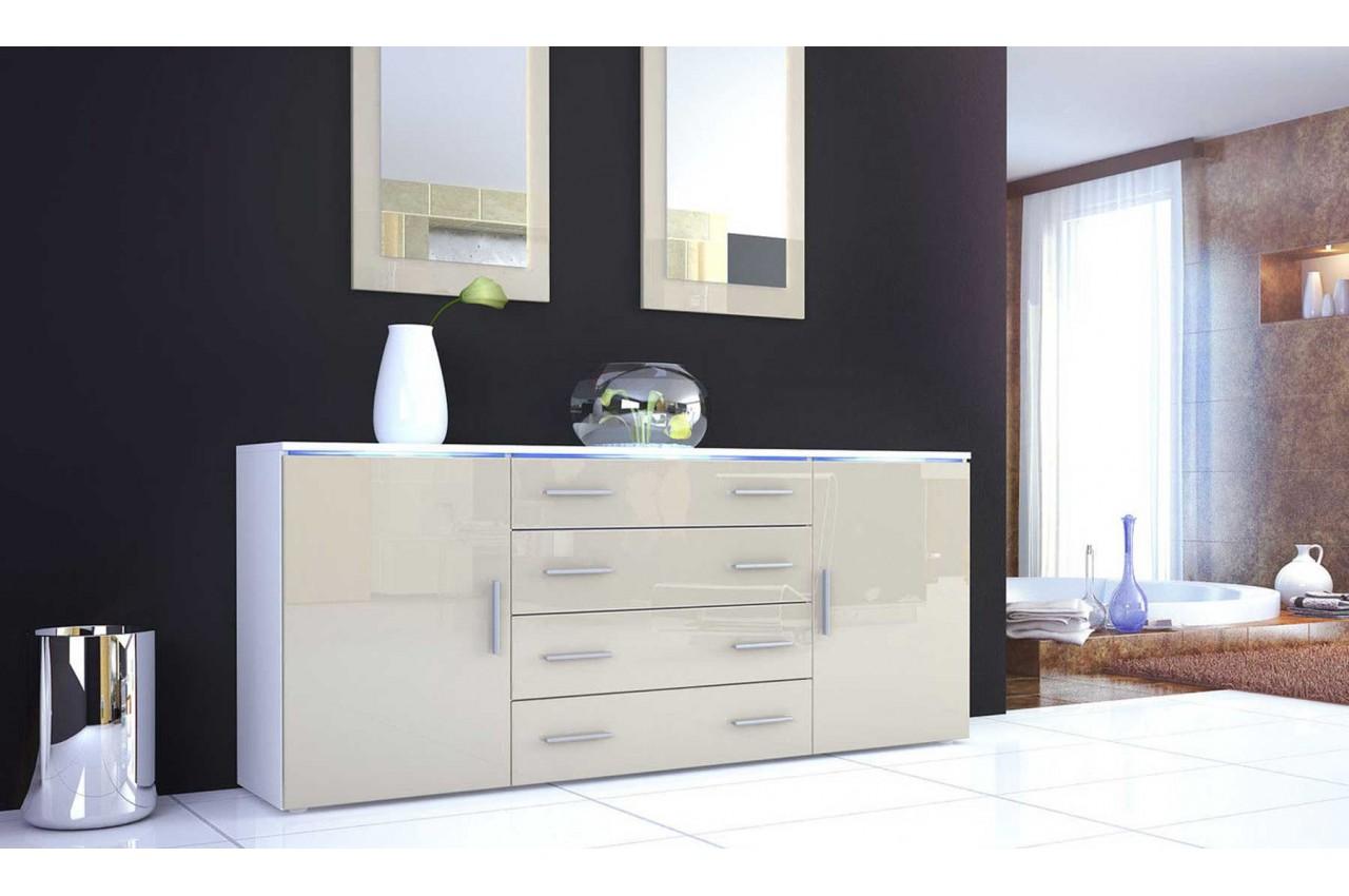 Buffet design lumineux 166cm 4 tiroirs 2 portes city for Buffet design