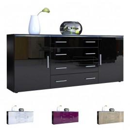 Buffet moderne noir lumineux 4 tiroirs et 2 portes CITY