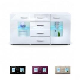 Meuble buffet blanc design 2 portes en verre LONDON