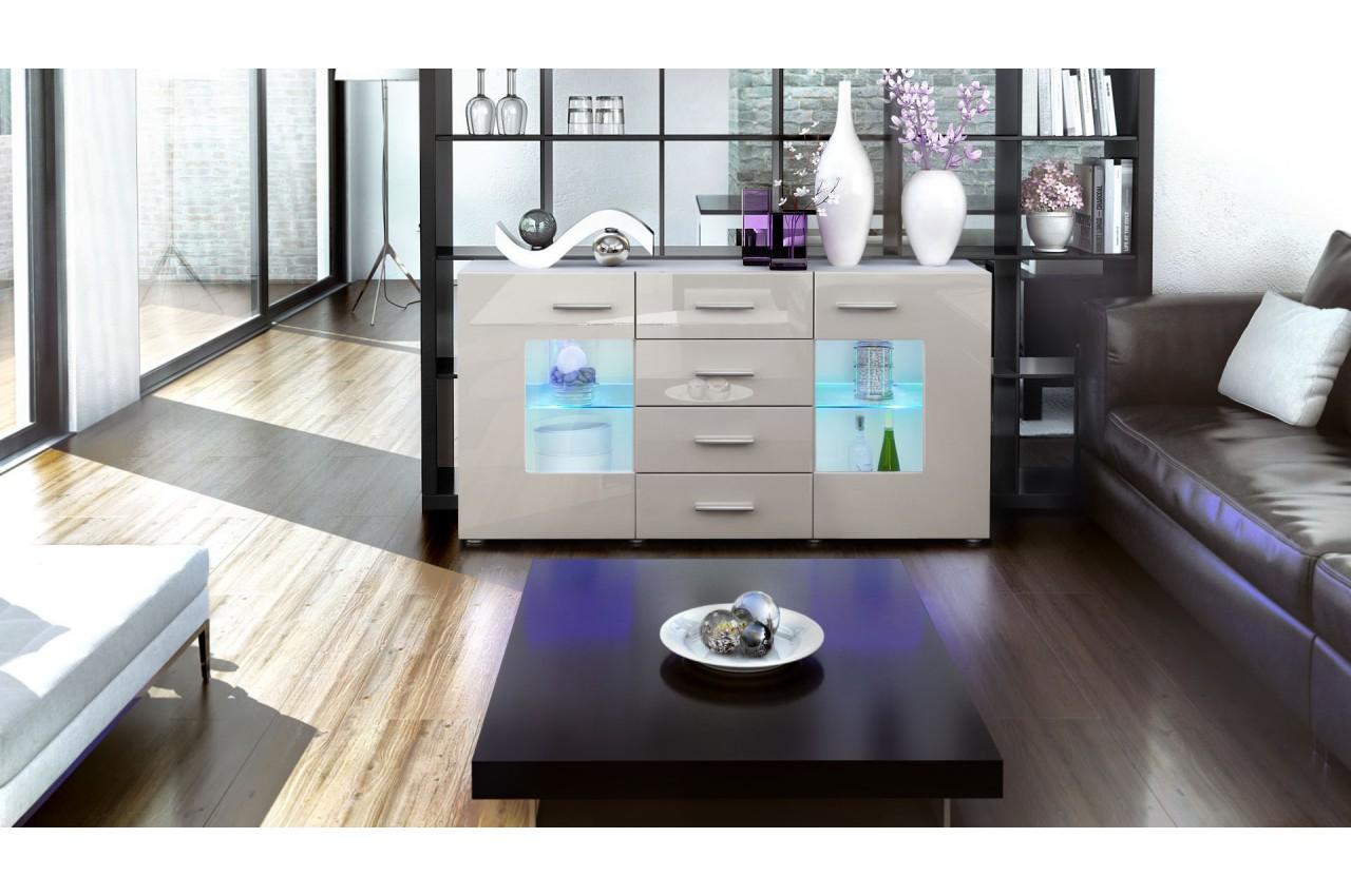 Meuble buffet blanc design 2 portes en verre london cbc for Meuble buffet design
