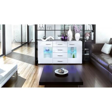 meuble buffet blanc design 2 portes en verre london cbc meubles. Black Bedroom Furniture Sets. Home Design Ideas