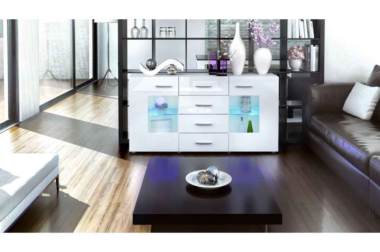 meuble buffet blanc design 2 portes en verre london cbc meubles. Black Bedroom Furniture Sets. Home Design Ideas