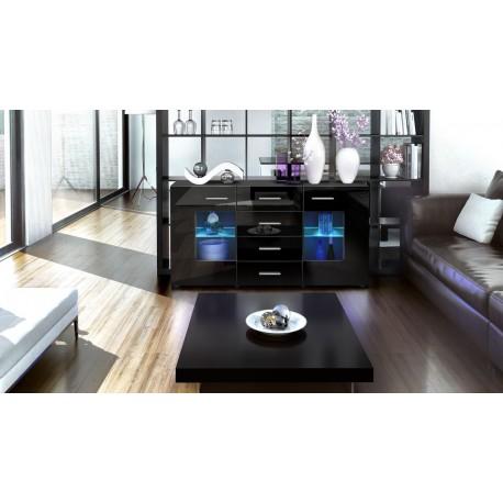 Buffet design noir 139cm- 2 portes vitrées- 4 tiroirs- LONDON