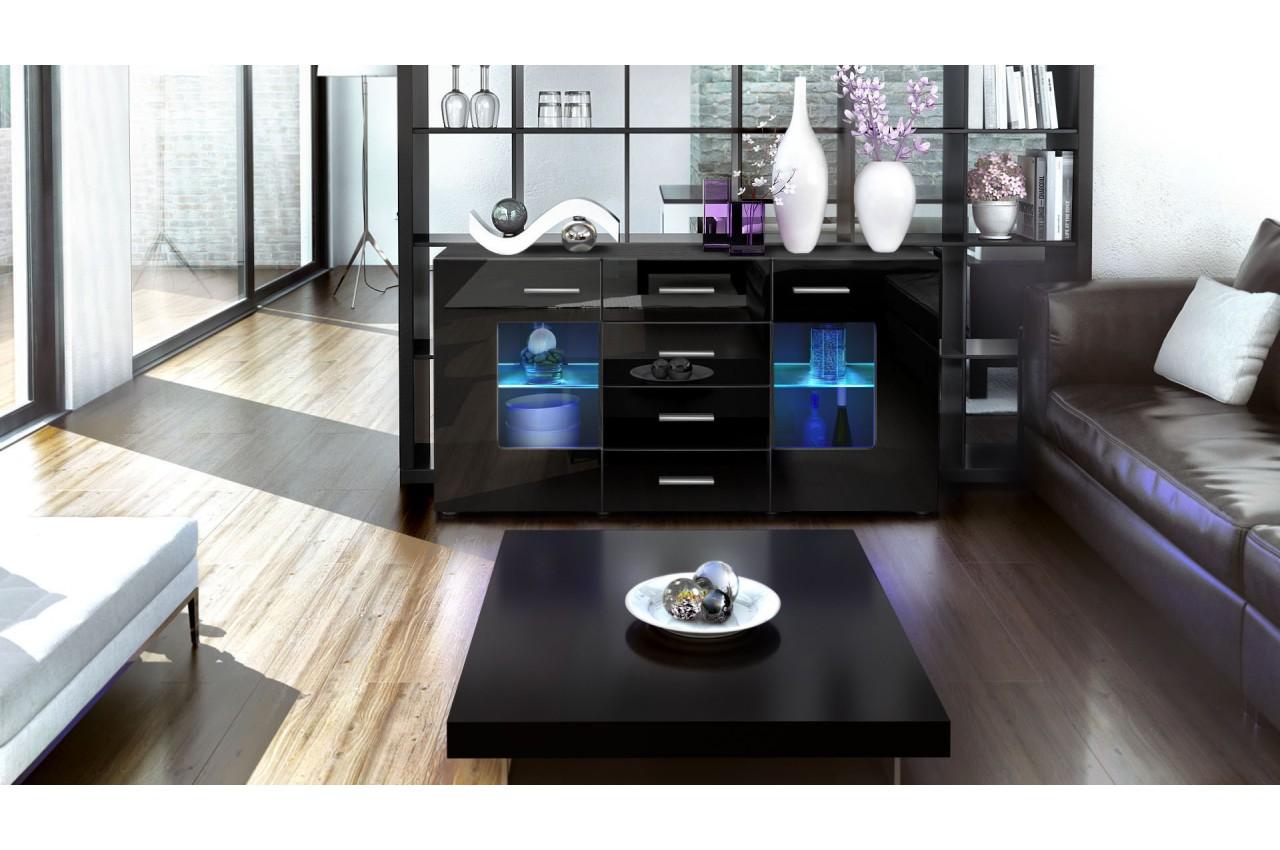 buffet design noir 4 tiroirs london cbc meubles. Black Bedroom Furniture Sets. Home Design Ideas