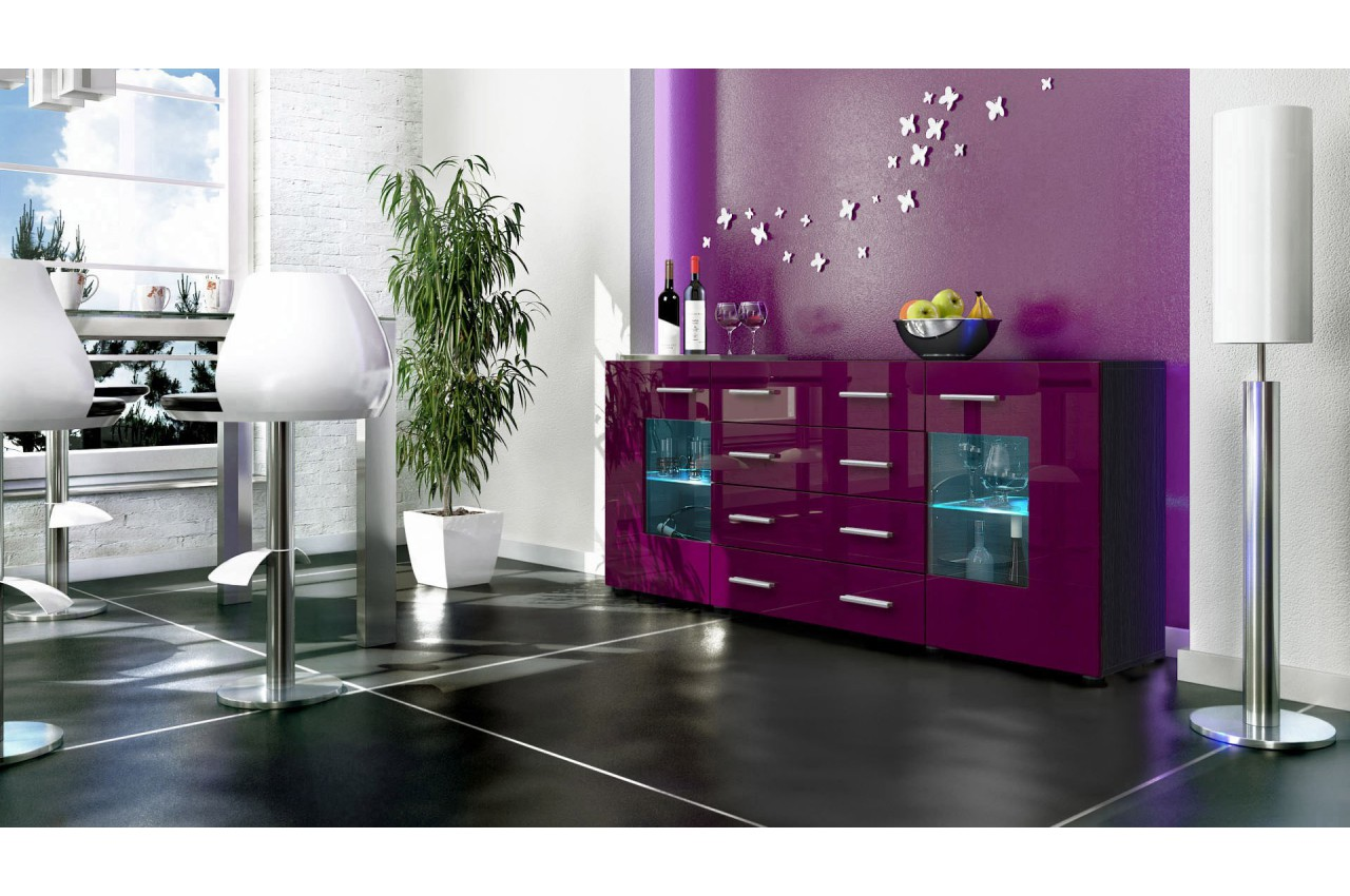 buffet noir moderne 166cm 2 portes en verre 4 tiroirs london cbc meubles. Black Bedroom Furniture Sets. Home Design Ideas