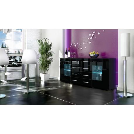 Buffet noir moderne 166cm- 2 portes en verre- 4 tiroirs- LONDON