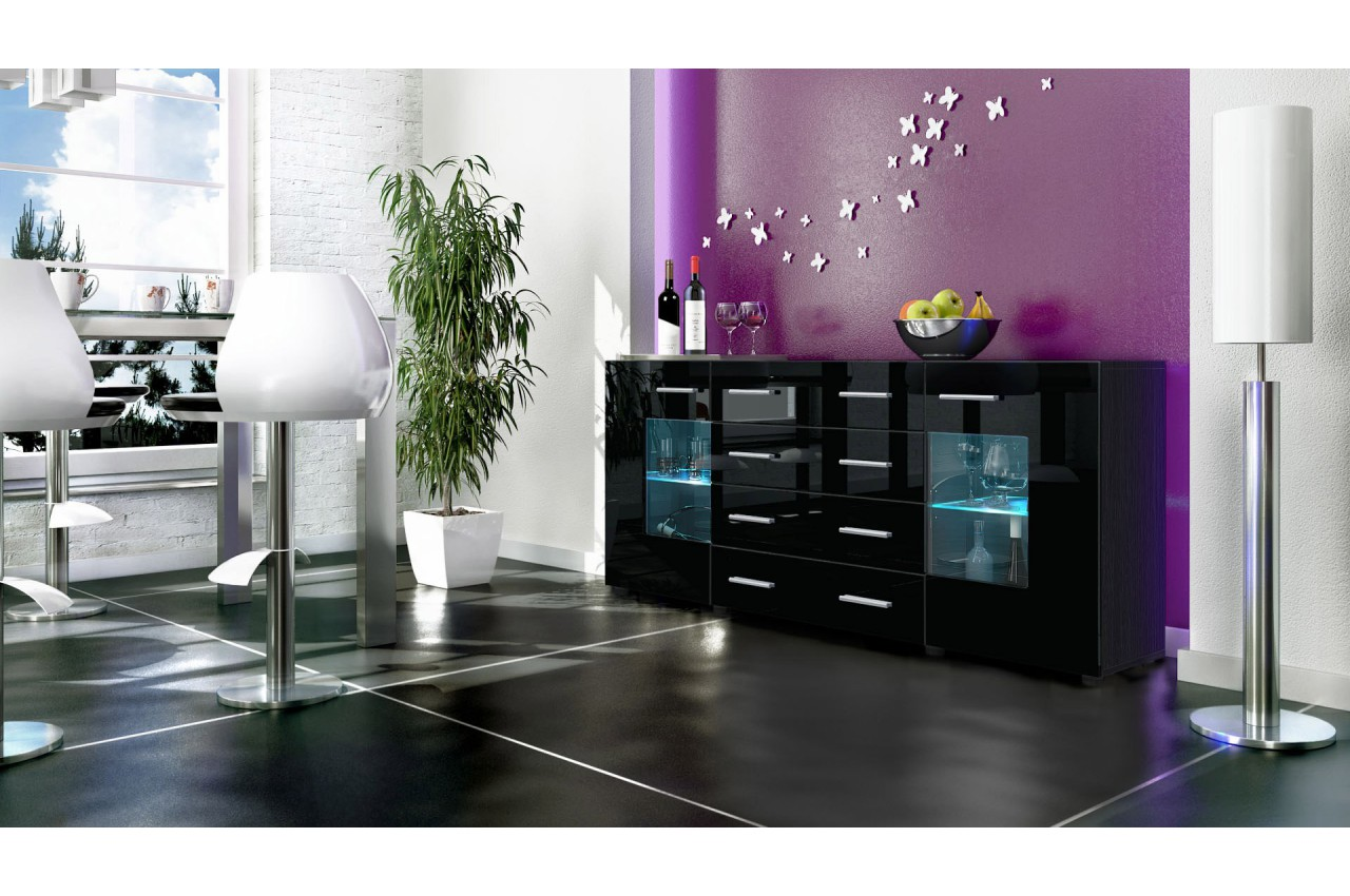 buffet noir moderne 166cm 2 portes en verre 4 tiroirs. Black Bedroom Furniture Sets. Home Design Ideas