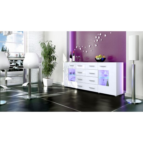 Buffet design blanc 166cm- 2 portes vitrée- 4 tiroirs LONDON