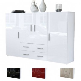 Meuble bahut design 4 portes - 2 tiroirs MANHATTAN