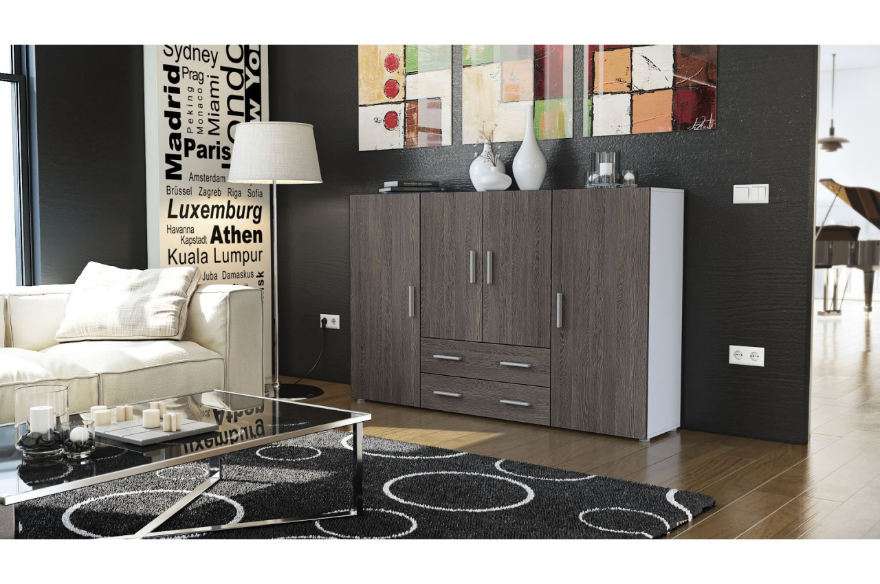 meuble bahut design 4 portes 2 tiroirs manhattan cbc meubles. Black Bedroom Furniture Sets. Home Design Ideas