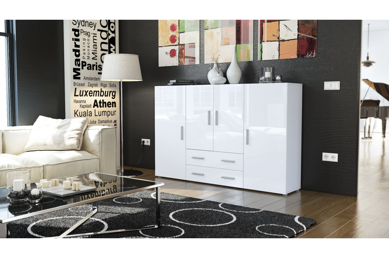 meuble bahut design 4 portes 2 tiroirs manhattan cbc. Black Bedroom Furniture Sets. Home Design Ideas