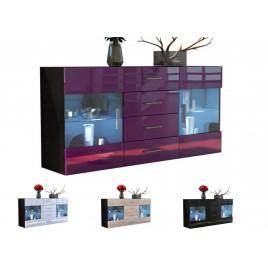 Buffet noir 139 cm- 2 portes vitrées- 4 tiroirs LAS VEGAS