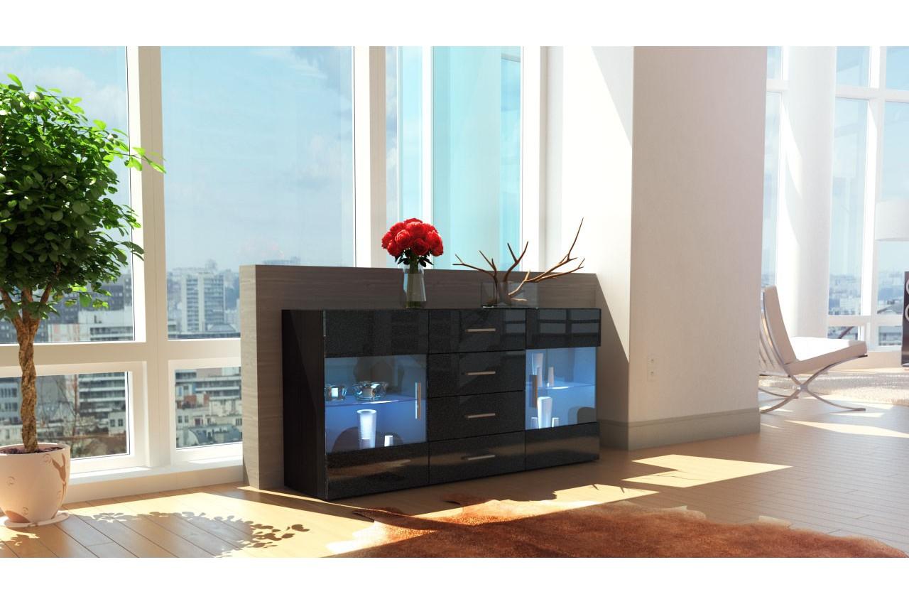 Buffet noir 2 portes vitr es las vegas cbc meubles for Buffets et bahuts