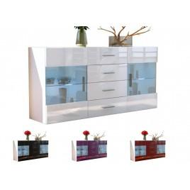Buffet blanc 139 cm- 4 tiroirs- 2 portes en verre LAS VEGAS