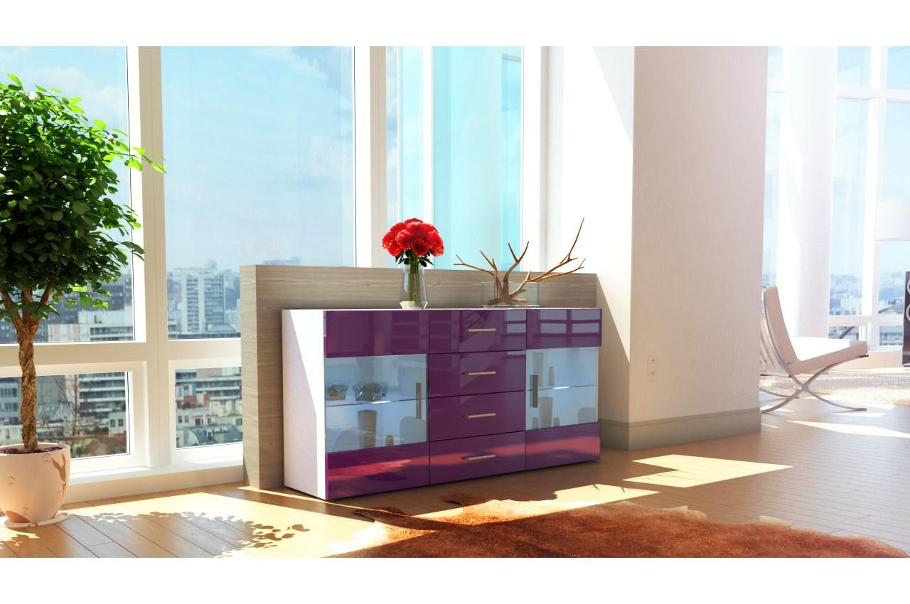 buffet blanc 2 portes en verre las vegas cbc meubles. Black Bedroom Furniture Sets. Home Design Ideas