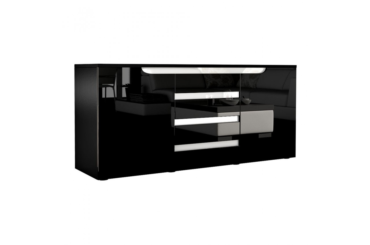 Buffet noir design 139 cm achille cbc meubles for Buffet noir