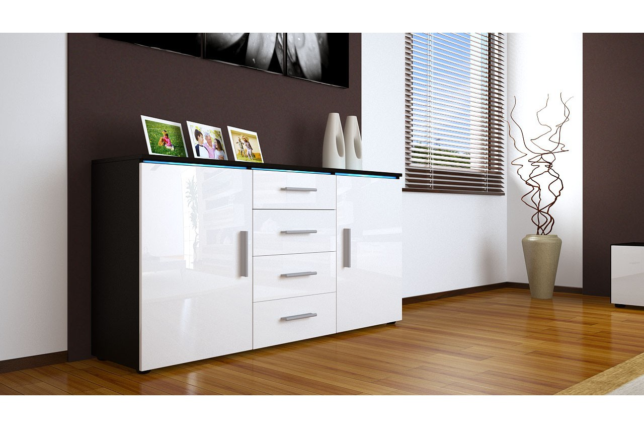 Buffet bahut design 139cm 2 portes 4 tiroirs 12 coloris led option cbc - Buffet bas de salle a manger ...