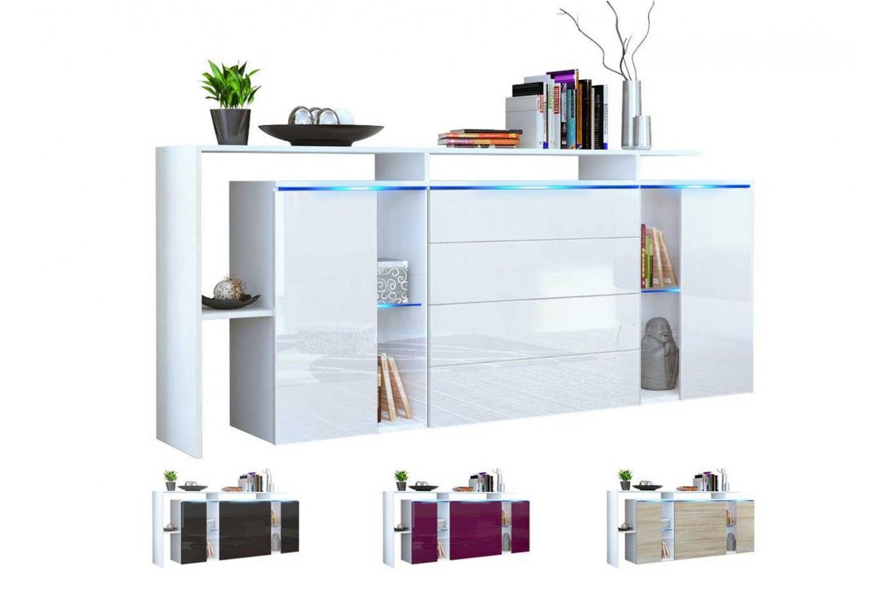 buffet rangement long blanc design lisa cbc meubles. Black Bedroom Furniture Sets. Home Design Ideas