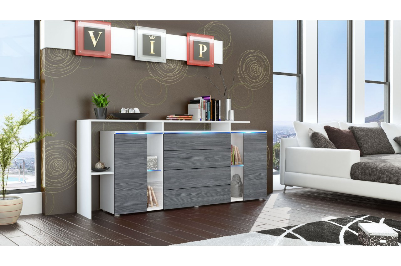 buffet rangement long blanc design lisa cbc meubles. Black Bedroom Furniture Sets. Home Design Ideas