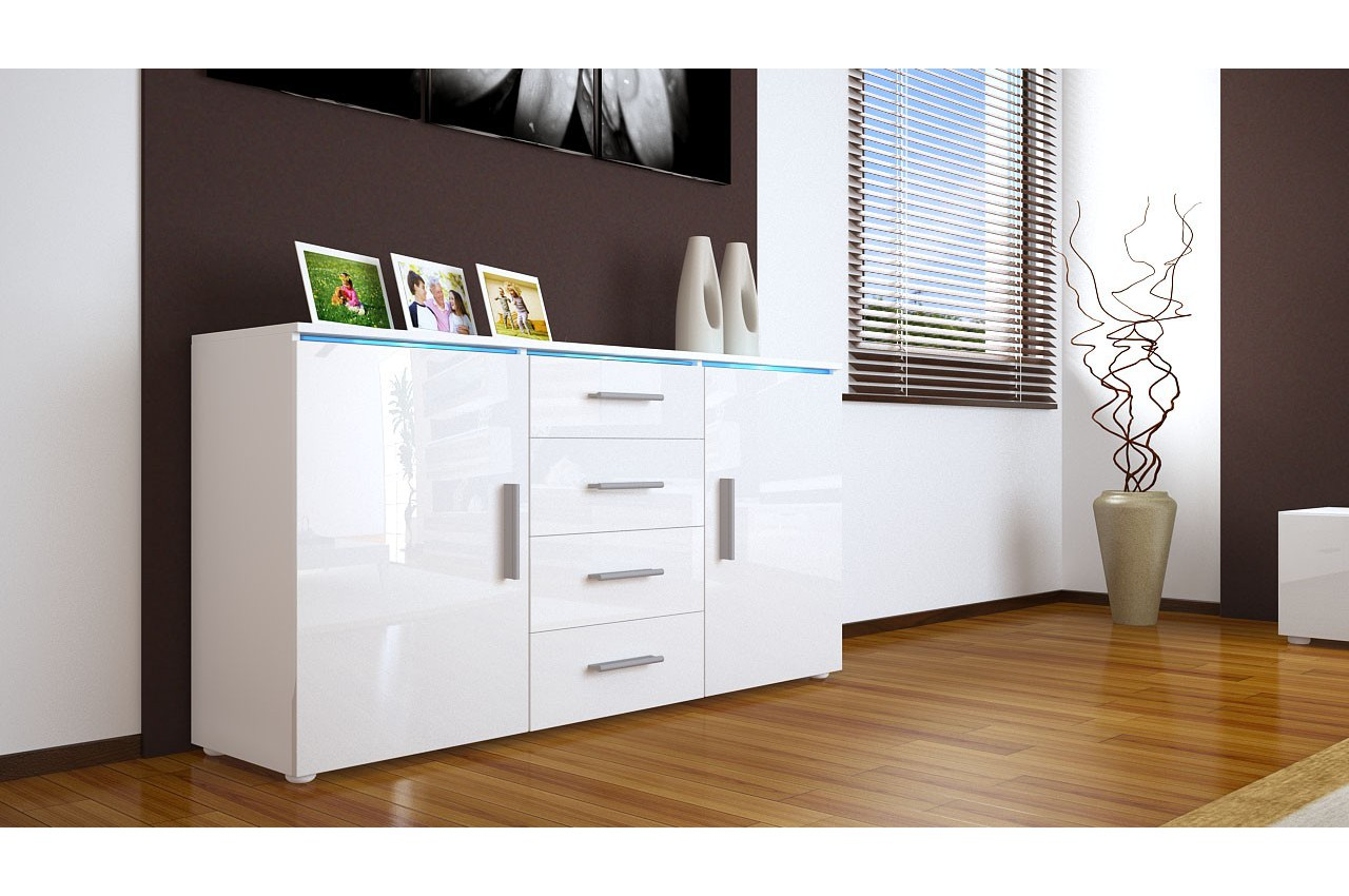 meuble buffet bahut 139cm 2 portes 4 tiroirs 12 coloris led option cbc meubles. Black Bedroom Furniture Sets. Home Design Ideas