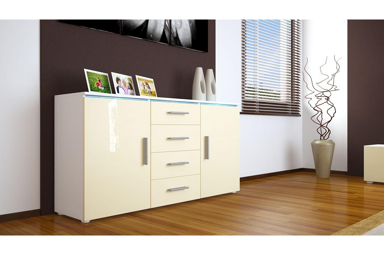 buffet blanc avec clairage led city cbc meubles. Black Bedroom Furniture Sets. Home Design Ideas