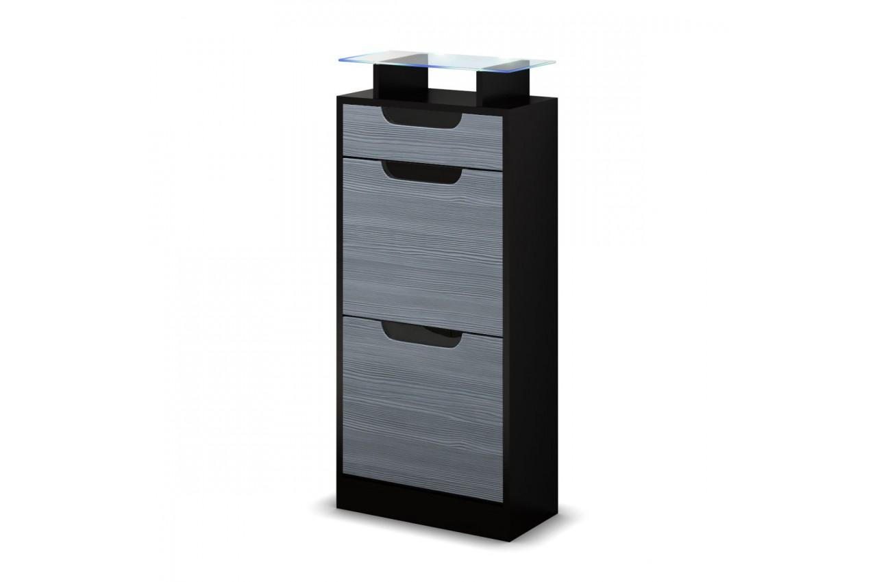 Petit meuble range chaussures pas cher 2 portes 1 tiroir for Petit meuble 2 tiroirs